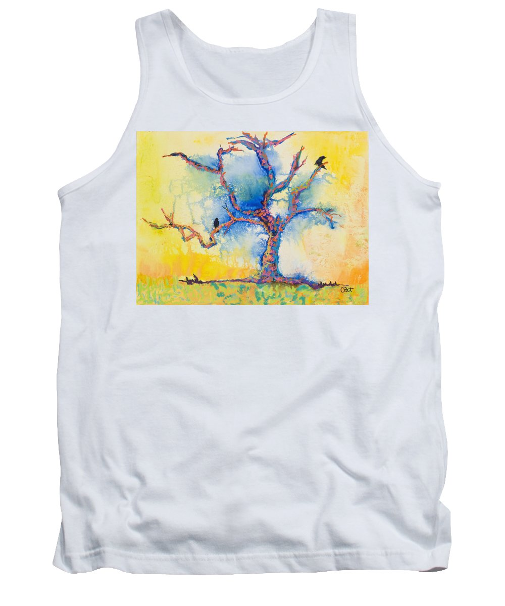 Abstract Painting Tank Top featuring the mixed media The Wind Riders by Pat Saunders-White