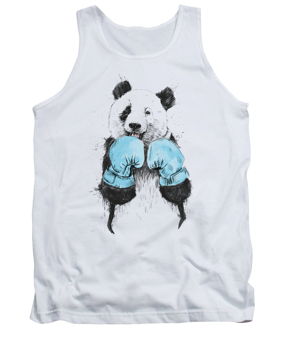 Panda Tank Top featuring the drawing The Winner by Balazs Solti