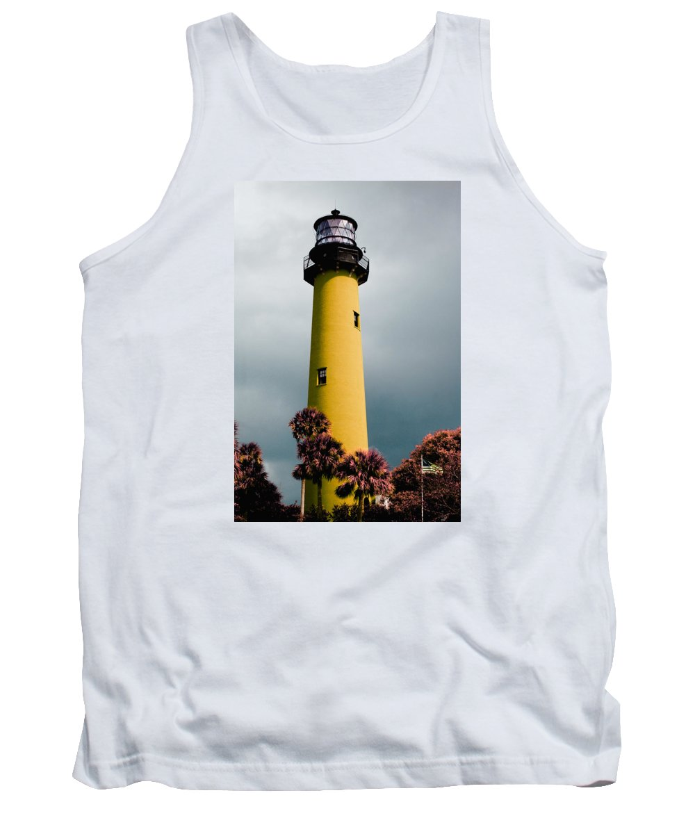 Fishing Tank Top featuring the pyrography The Yellow Lighthouse by Artistic Panda