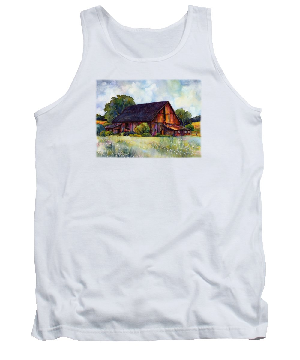 Barn Tank Top featuring the painting This Old Barn by Hailey E Herrera