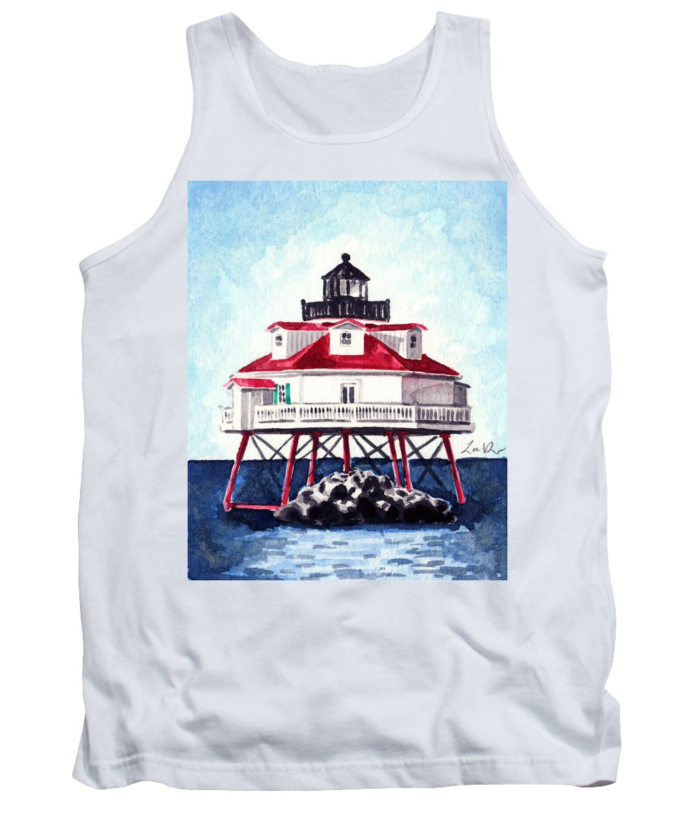 Thomas Point Tank Top featuring the painting Thomas Point Shoal Lighthouse Annapolis Maryland Chesapeake Bay Light House by Laura Row