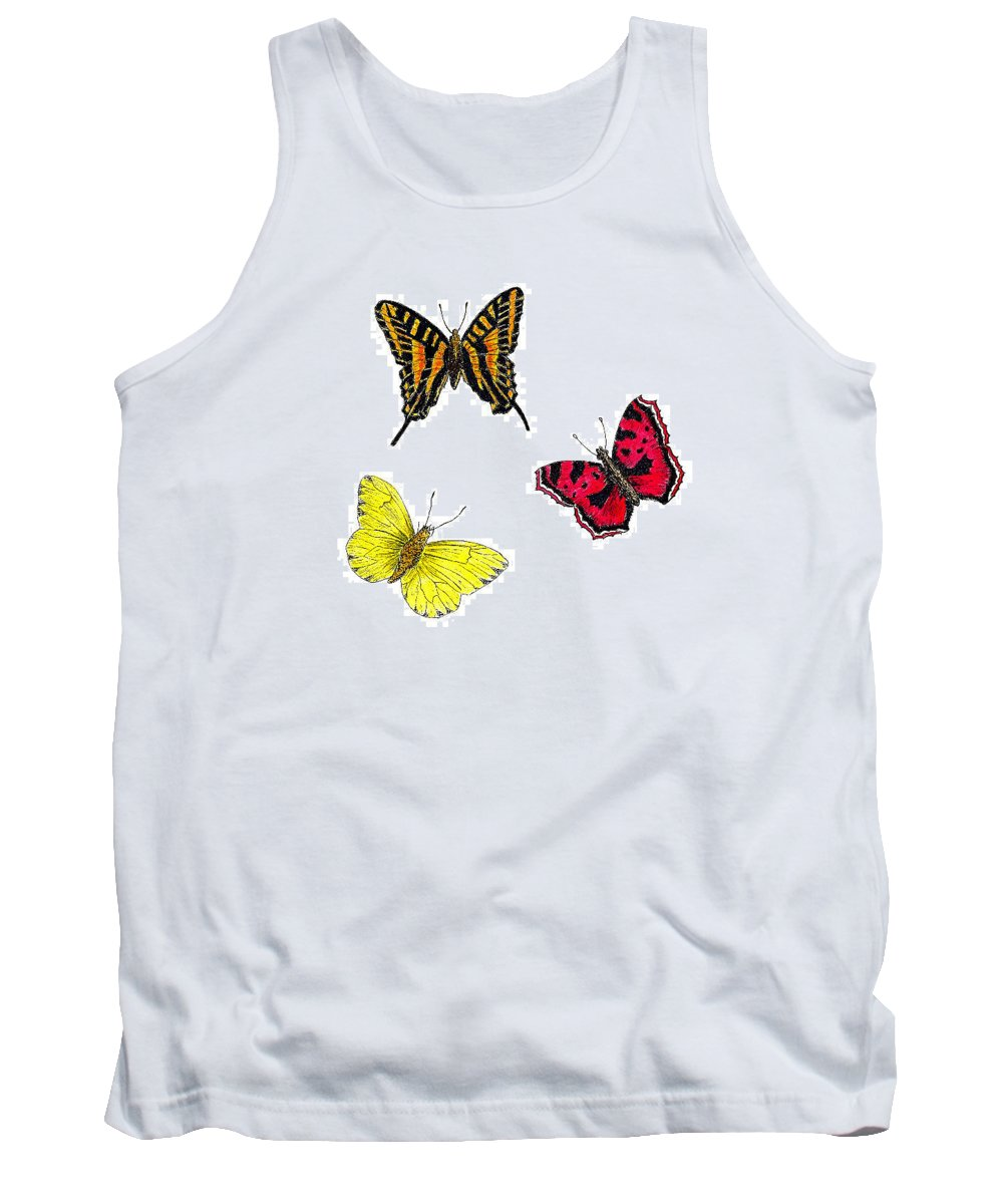 Butterfly Tank Top featuring the painting Three Butterflies by Michael Vigliotti