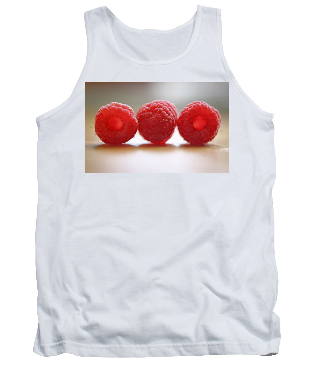 Raspberry Tank Top featuring the photograph Three's Company by Evelina Kremsdorf