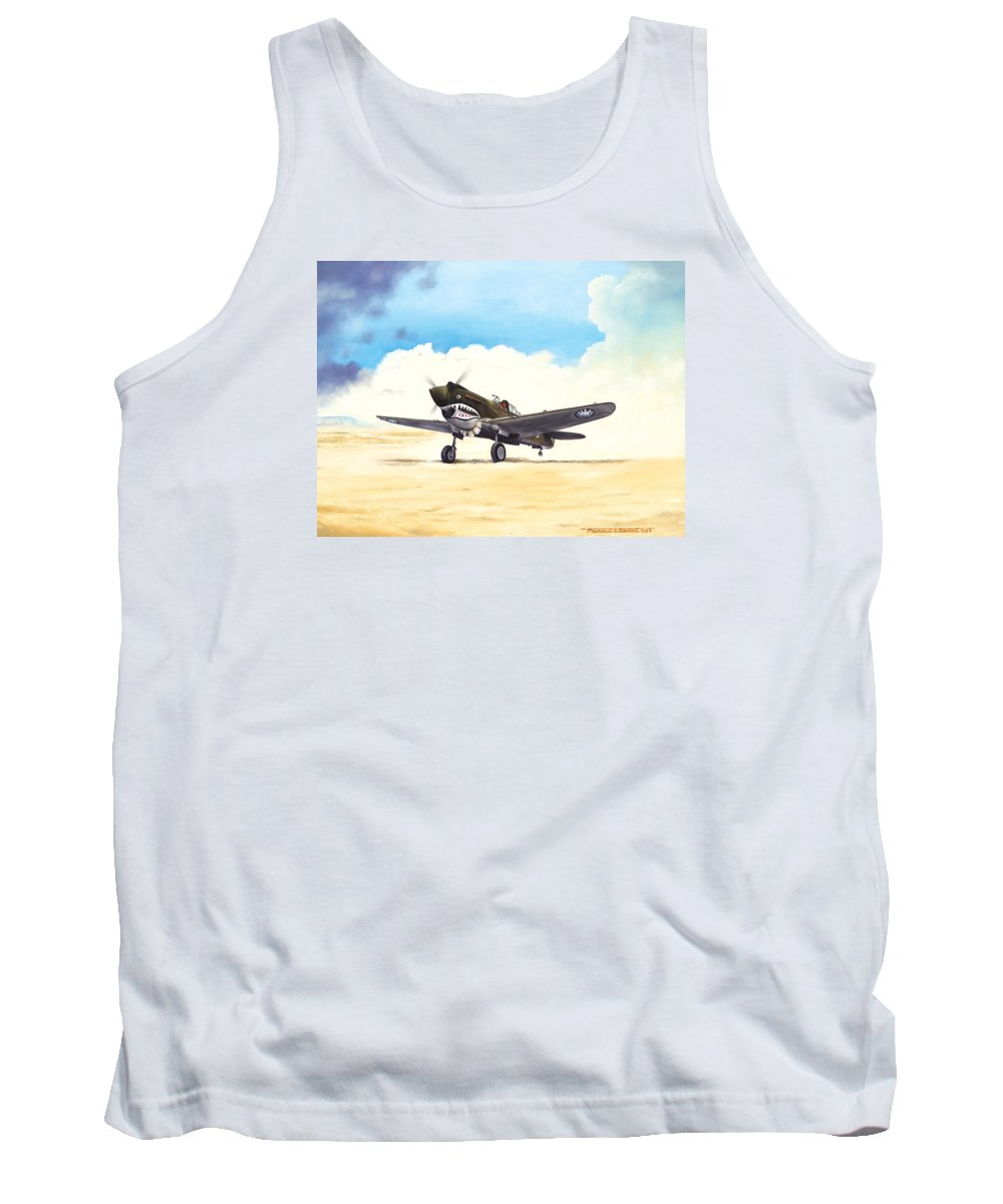 Aviation Tank Top featuring the painting Tiger Scramble by Marc Stewart