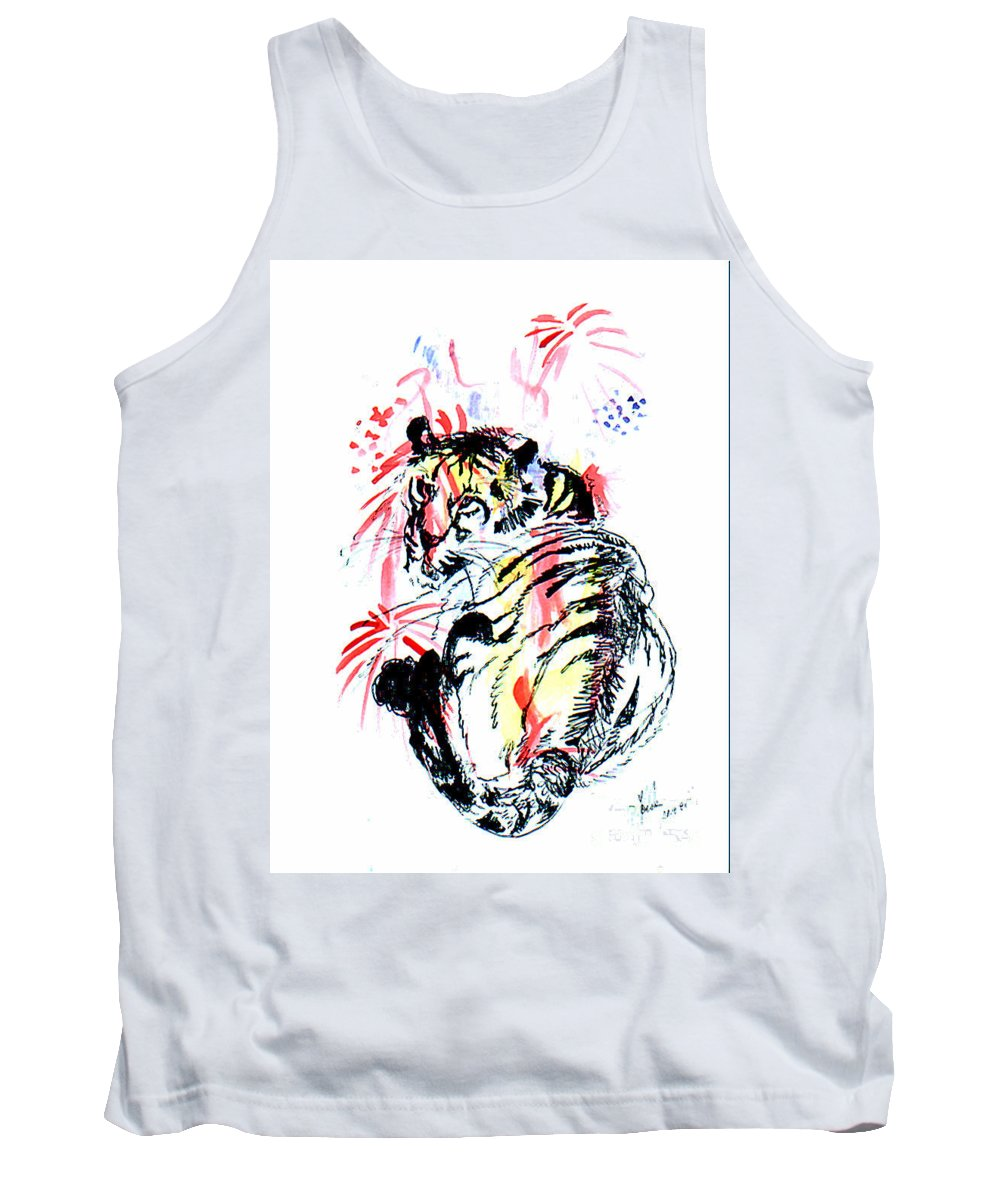 Tiger Tank Top featuring the painting Tiger Siesta by Peter Kulik
