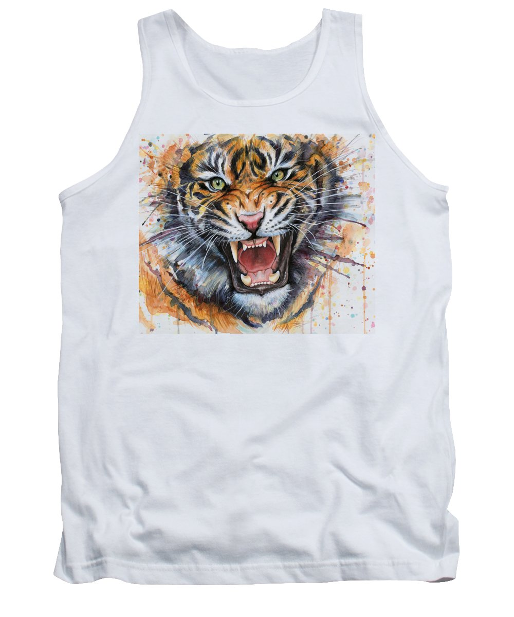 Watercolor Tank Top featuring the painting Tiger Watercolor Portrait by Olga Shvartsur