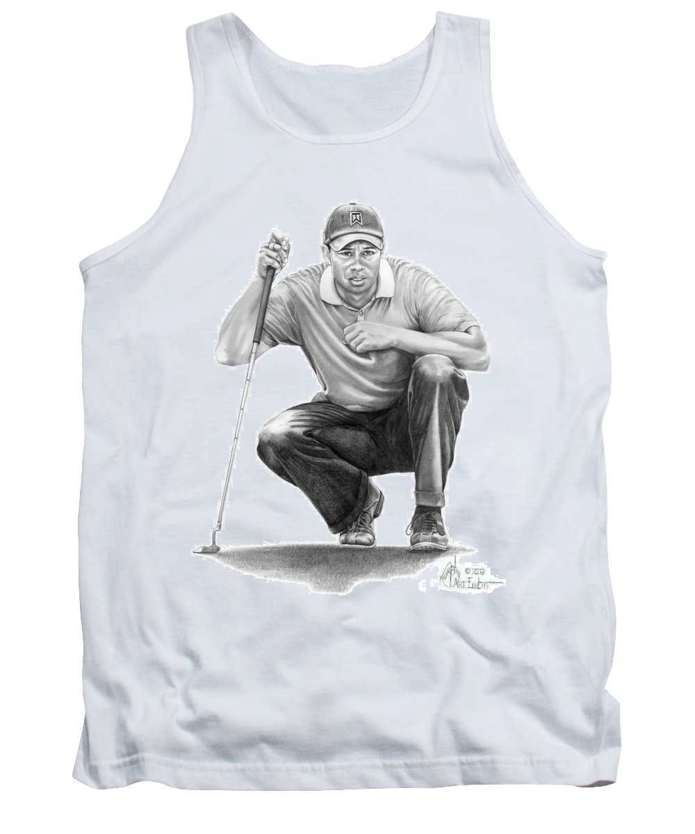 Pencil Tank Top featuring the drawing Tiger Woods Crouching Tiger by Murphy Elliott