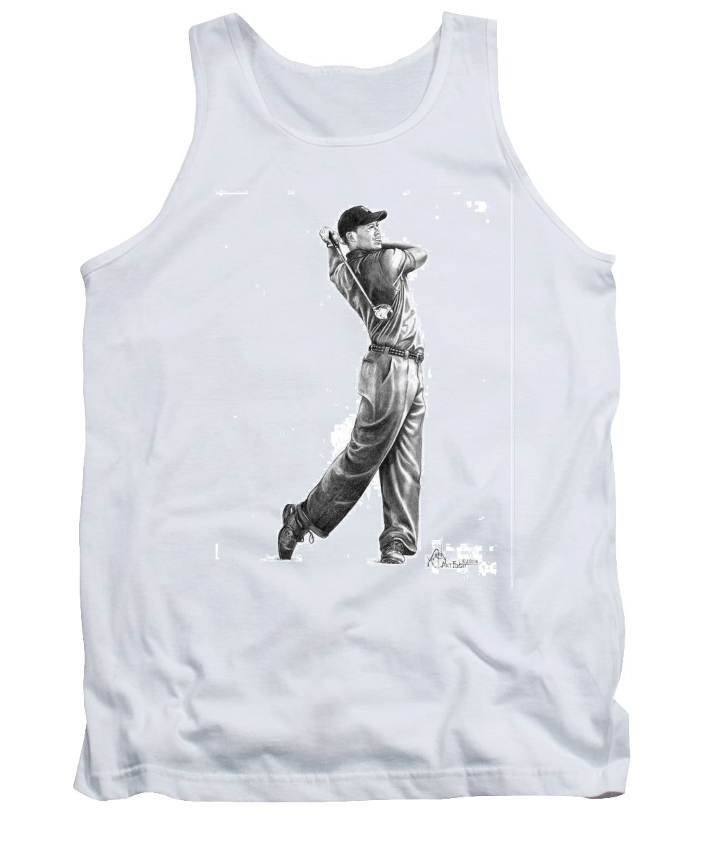 Tiger Woods Tank Top featuring the drawing Tiger Woods Full Swing by Murphy Elliott
