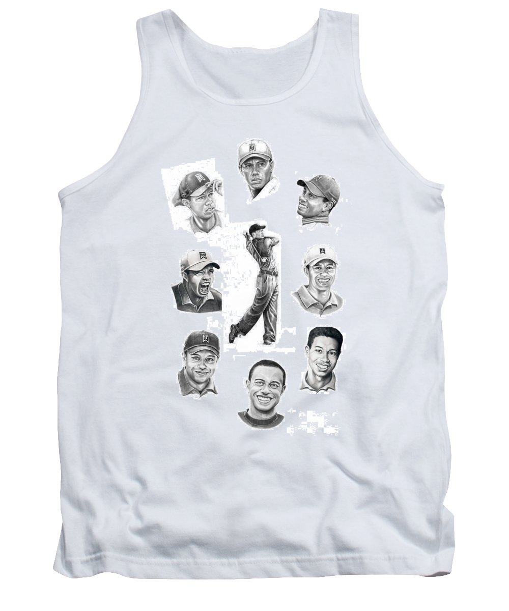 Tiger Woods Tank Top featuring the drawing Tiger Woods-murphy Elliott by Murphy Elliott