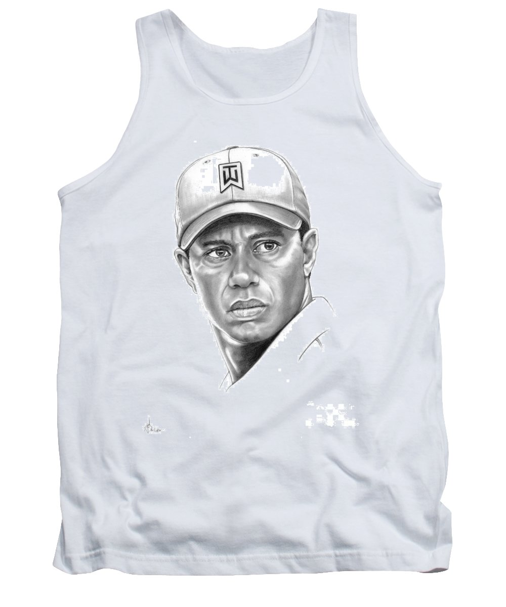 Tiger Woods Tank Top featuring the drawing Tiger Woods by Murphy Elliott