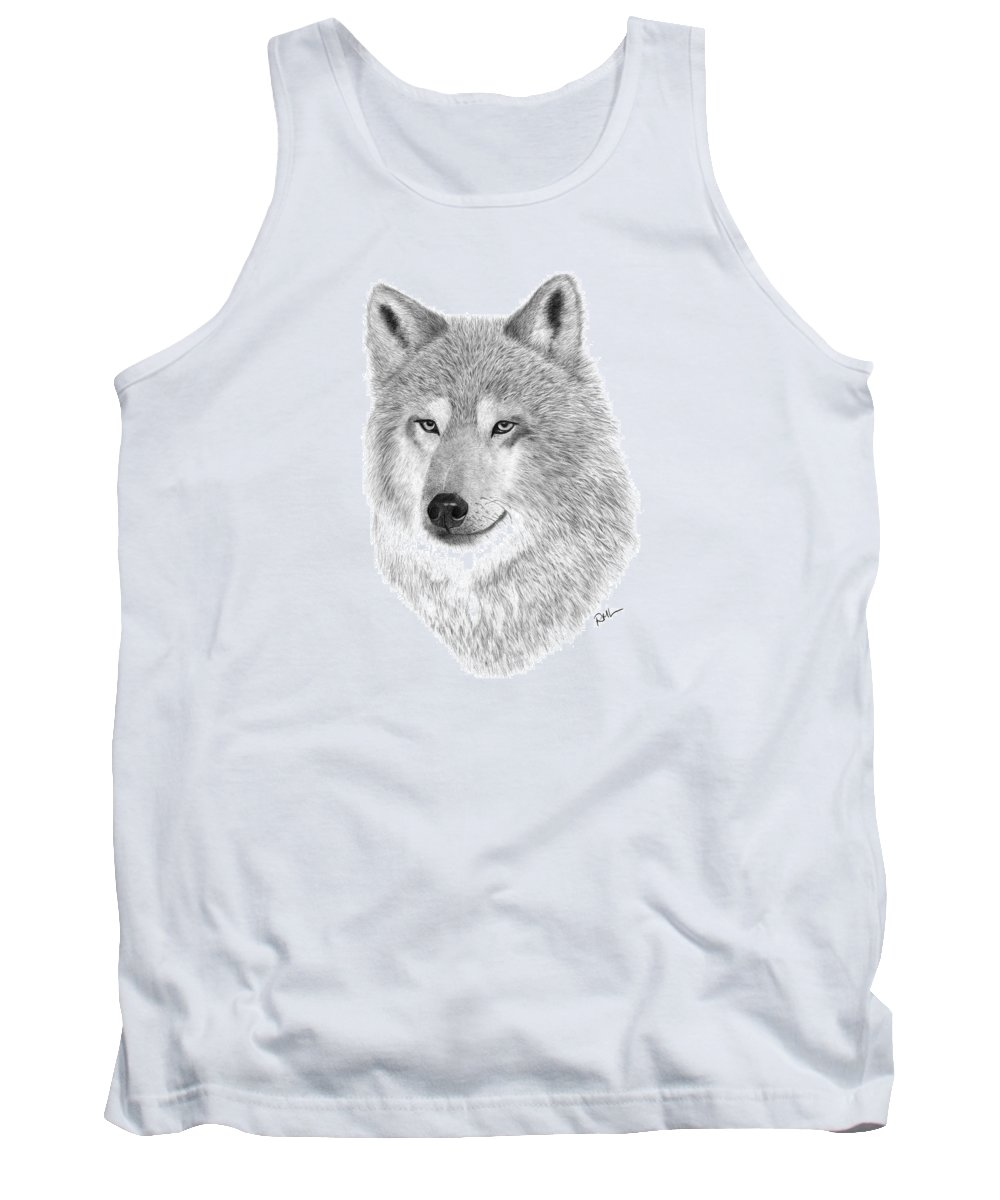 Wolf Drawing Tank Top featuring the drawing Timber Wolf by Rosanna Maria