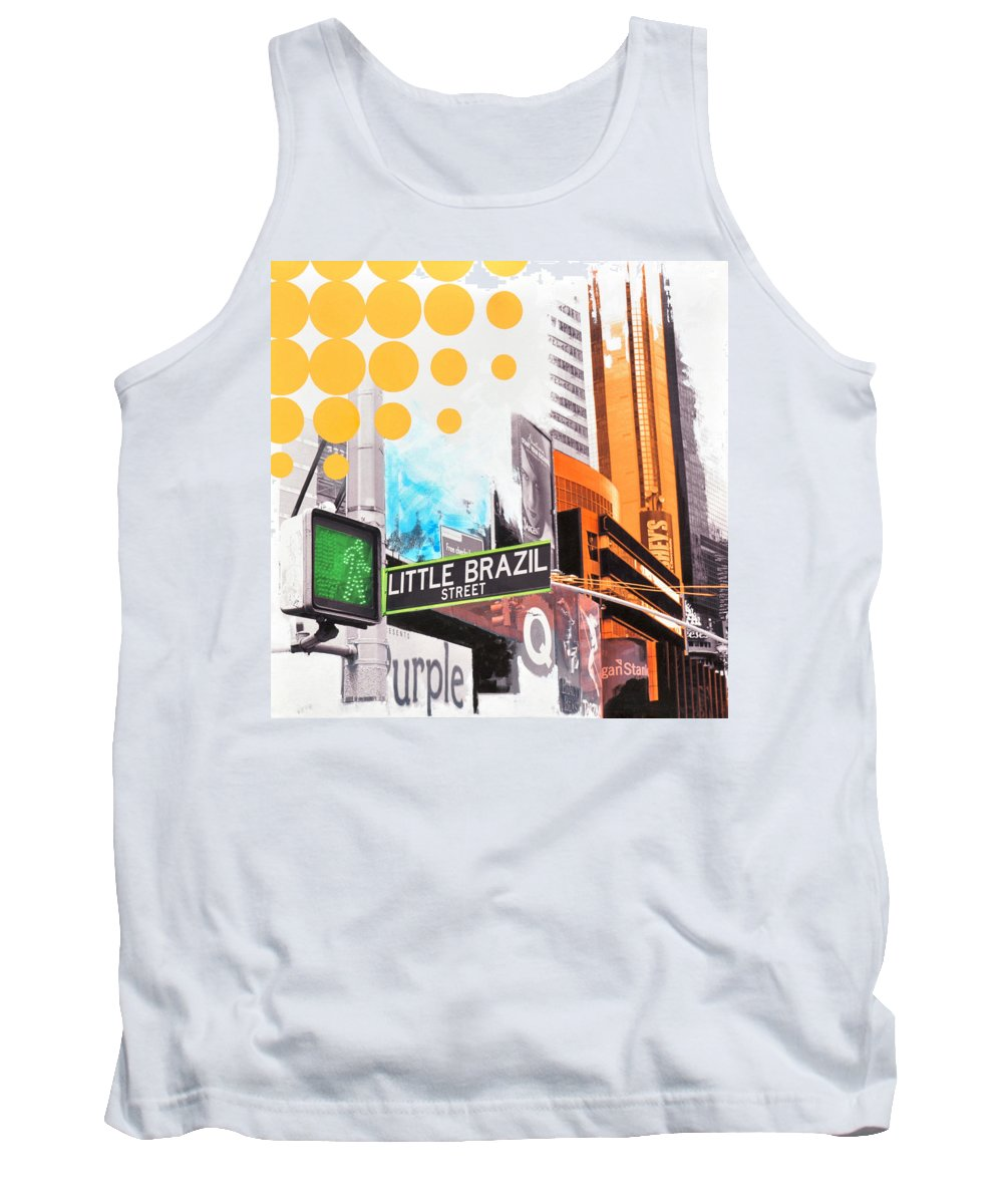 Ny Tank Top featuring the painting Times Square Little Brazil by Jean Pierre Rousselet