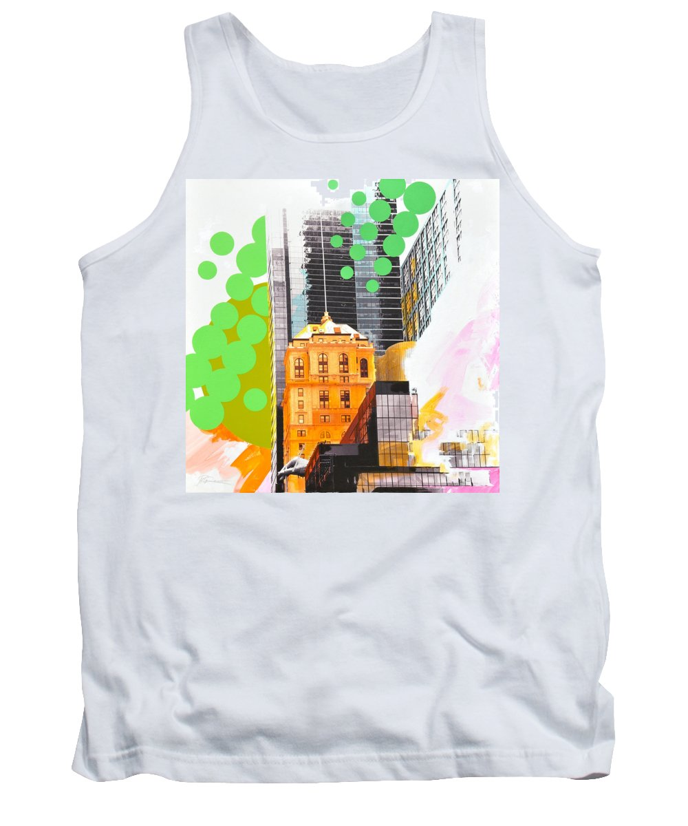 Ny Tank Top featuring the painting Times Square Ny Advertise by Jean Pierre Rousselet