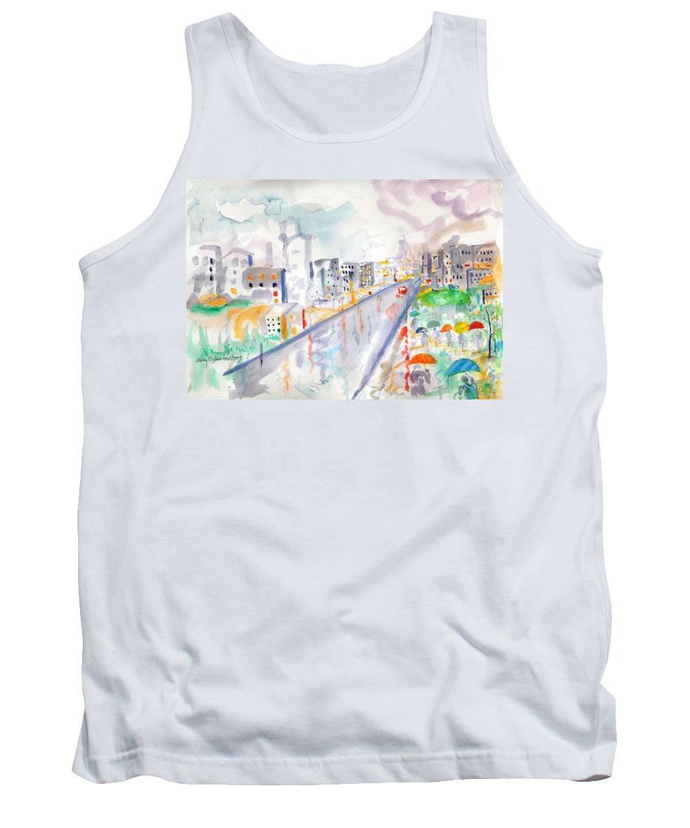 City Tank Top featuring the painting To The Wet City by Mary Armstrong