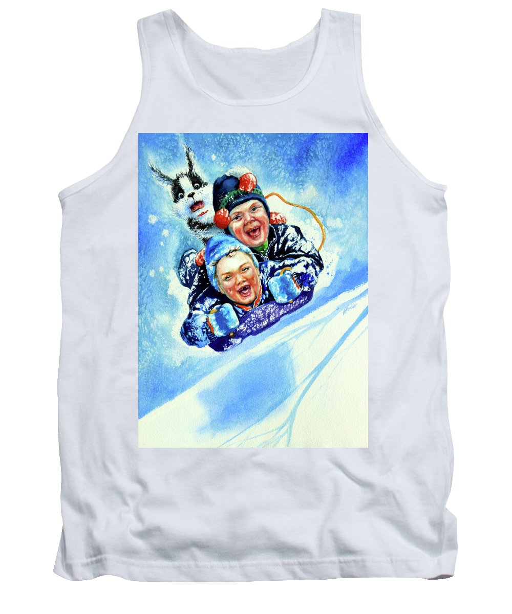 Children Playing Tank Top featuring the painting Toboggan Terrors by Hanne Lore Koehler