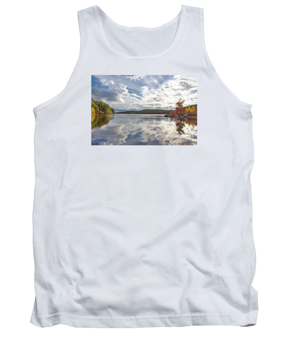 New England Tank Top featuring the photograph Tolland Lake Two by Marcel J Goetz Sr