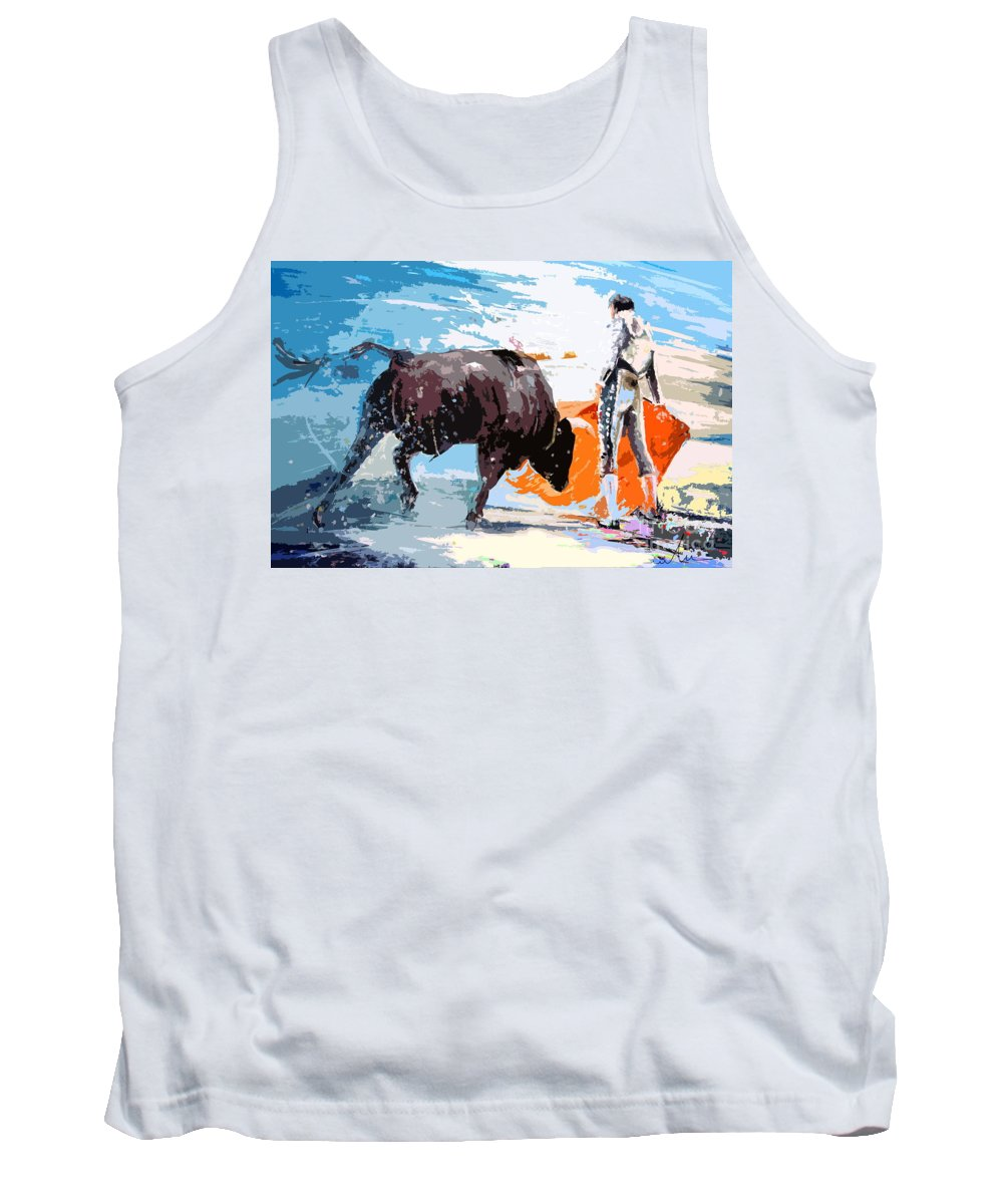 Bullfight Tank Top featuring the painting Toroscape 37 by Miki De Goodaboom