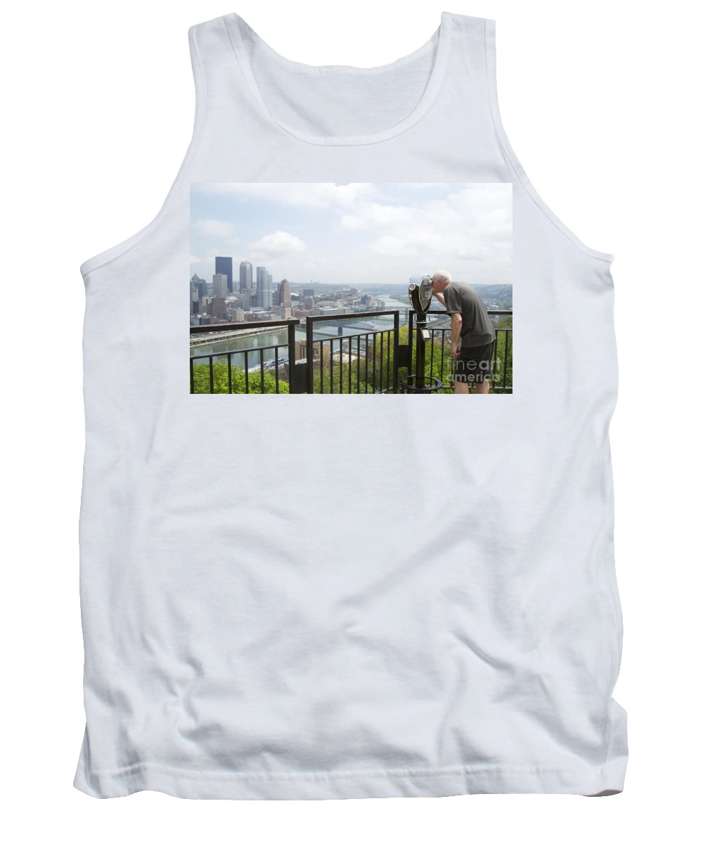 Pittsburgh Tank Top featuring the photograph Tourist Looking Through Viewfinder by Karen Foley