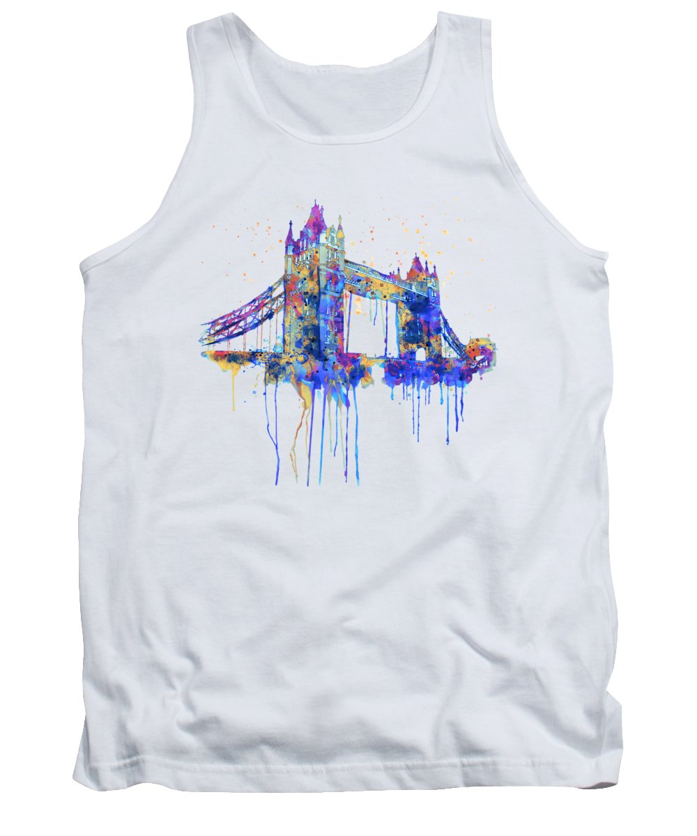 Tower Bridge Tank Top featuring the painting Tower Bridge Watercolor by Marian Voicu