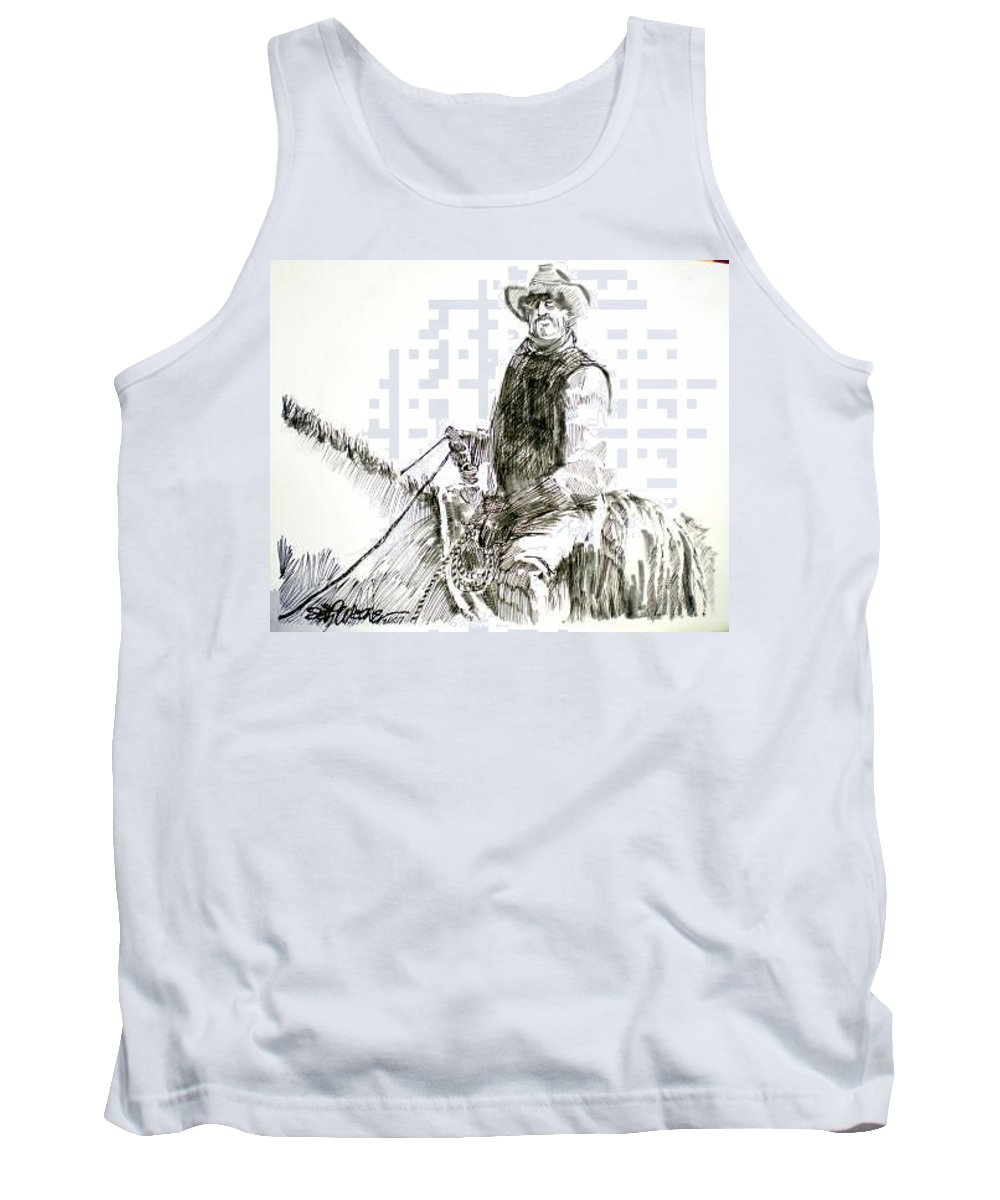 Trail Boss Tank Top featuring the drawing Trail Boss by Seth Weaver