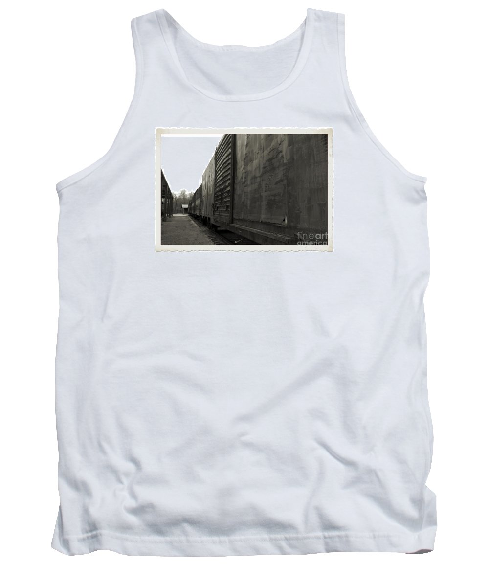 Train Tank Top featuring the photograph Trains 12 Platinum Border by Jay Mann