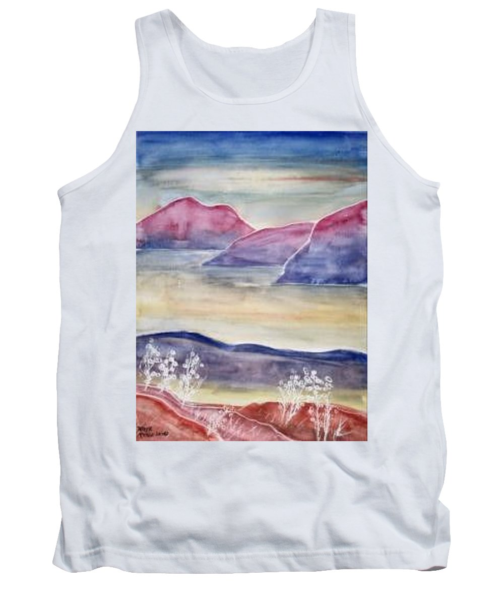 Watercolor Tank Top featuring the painting TRANQUILITY 2 mountain modern surreal painting print by Derek Mccrea
