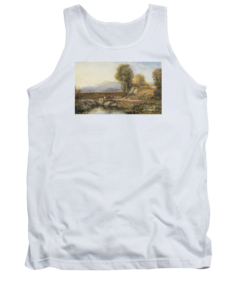 David Cox Snr (1783�1859) Travelers In A Welsh Landscape C 1830 Tank Top featuring the painting Travelers In A Welsh Landscape by Celestial Images