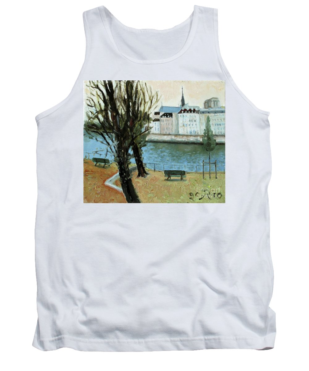 Landscape Tank Top featuring the painting Trees by the River by Raimonda Jatkeviciute-Kasparaviciene
