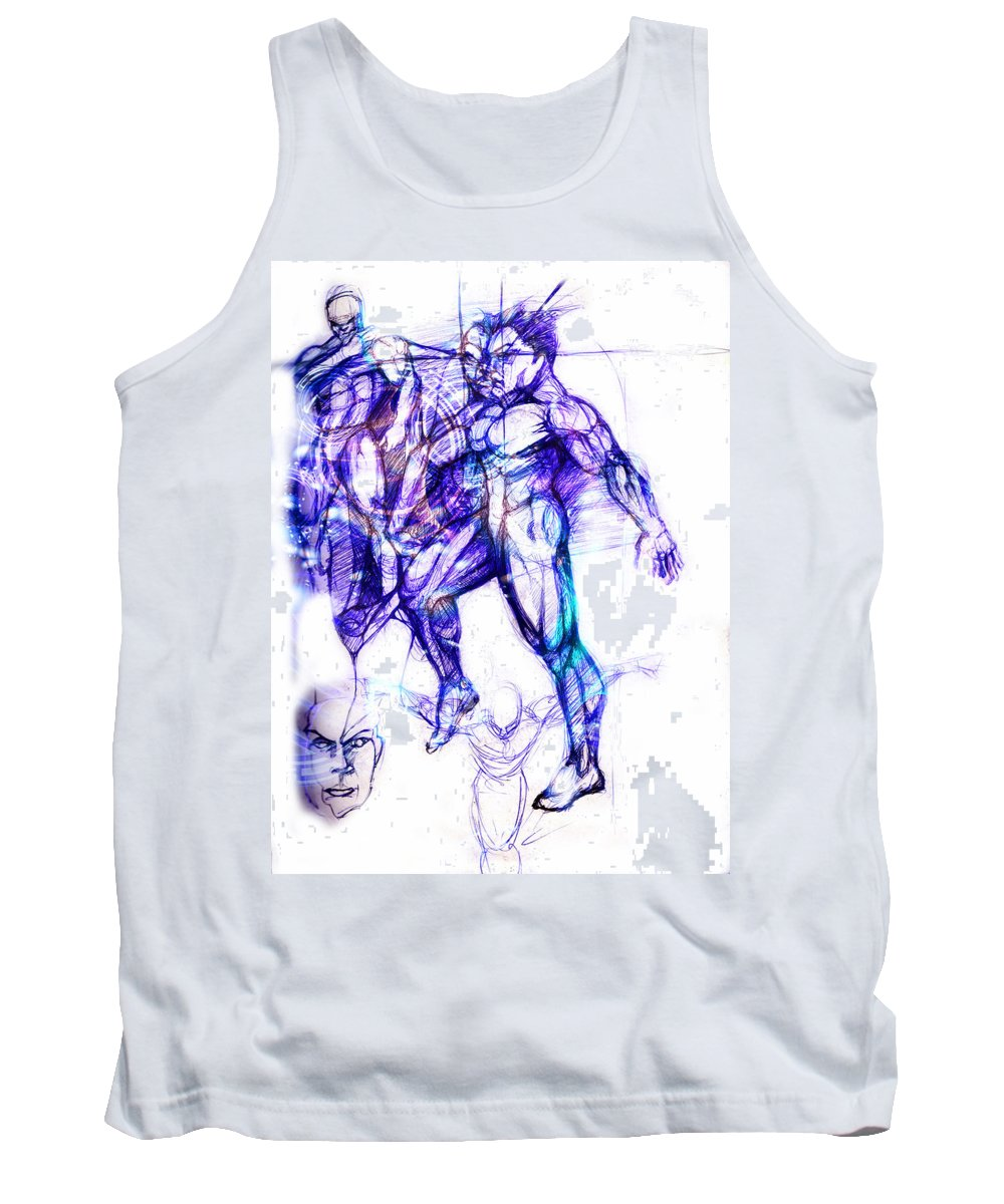 Dancers Tank Top featuring the digital art Tribal Dancers by Isaac Feliciano