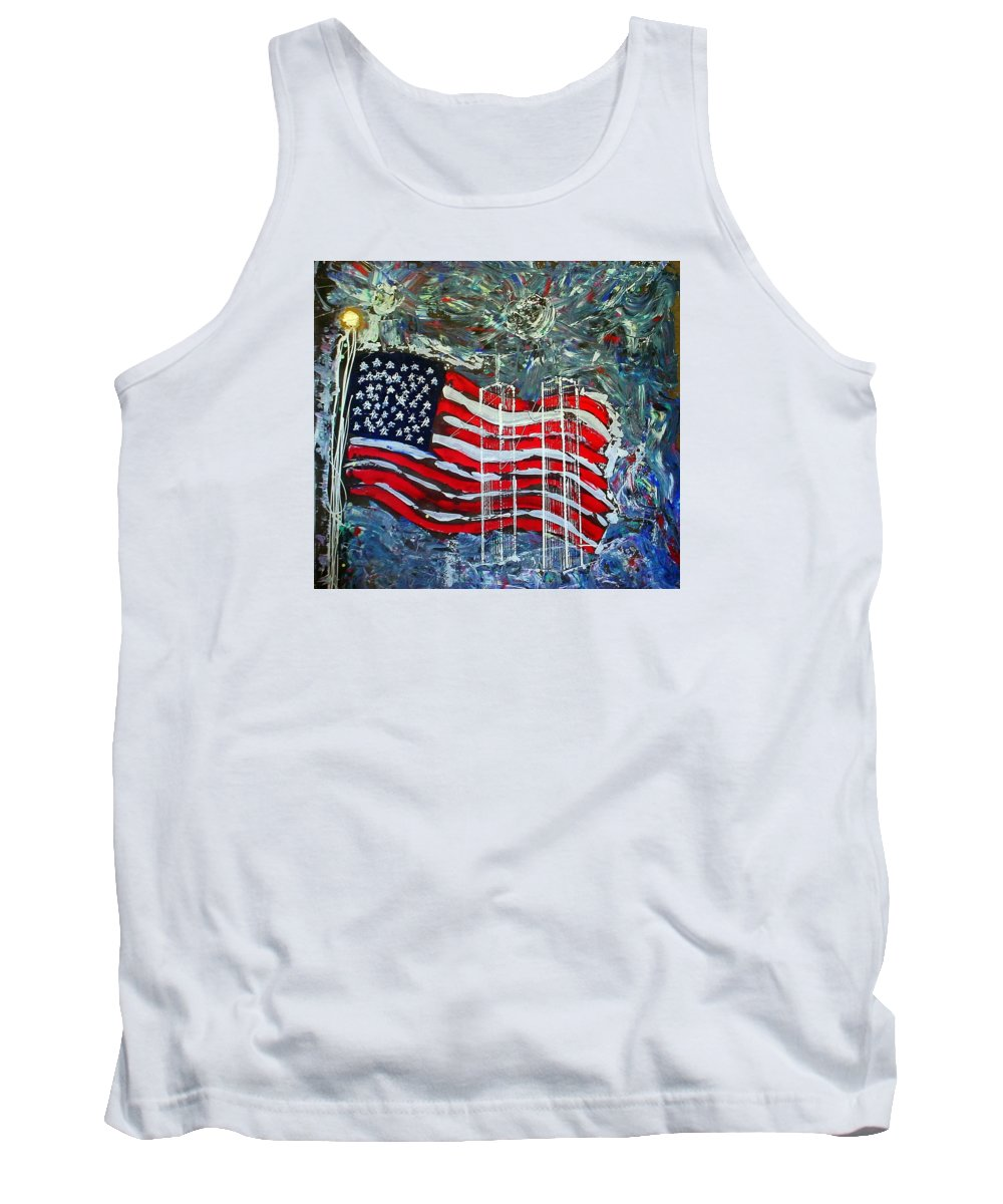 American Flag Tank Top featuring the mixed media Tribute by J R Seymour