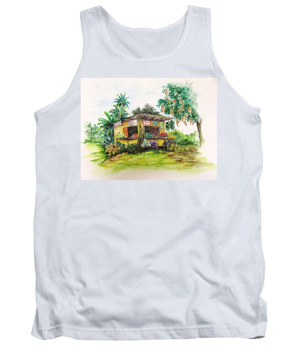 Caribbean Parlor Tank Top featuring the painting Trinidad Roadside Vendor by Karin Dawn Kelshall- Best