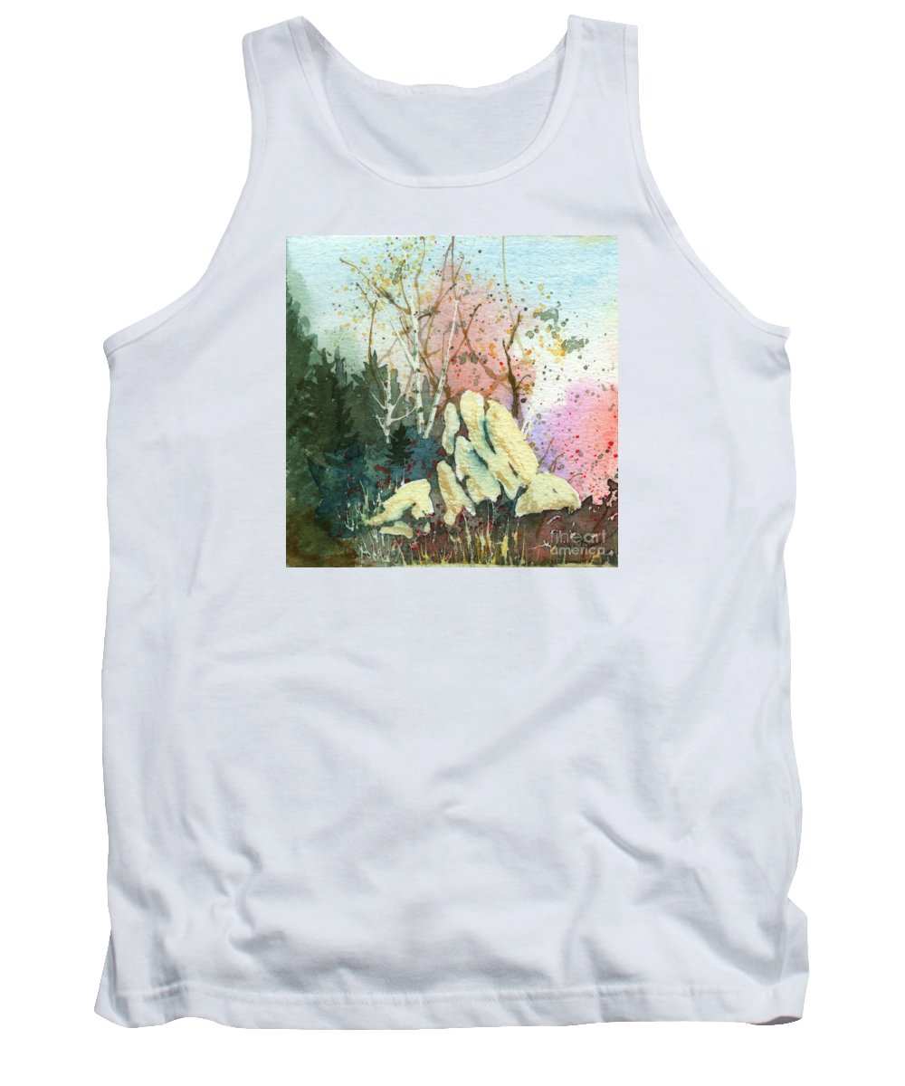 Landscape Tank Top featuring the painting Triptych Panel 1 by Lynn Quinn