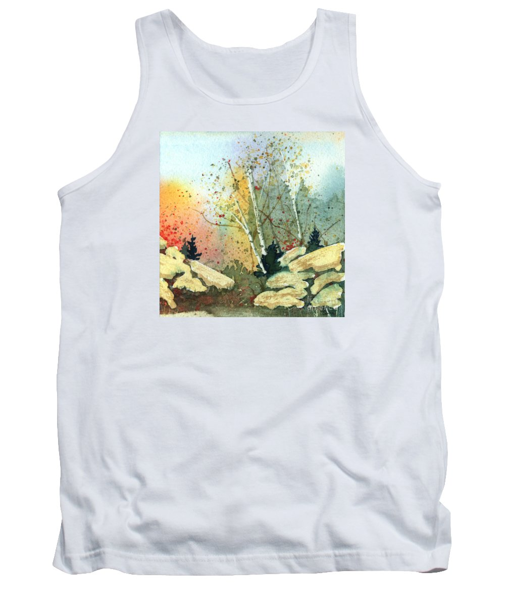 Landscape Tank Top featuring the painting Triptych Panel 3 by Lynn Quinn