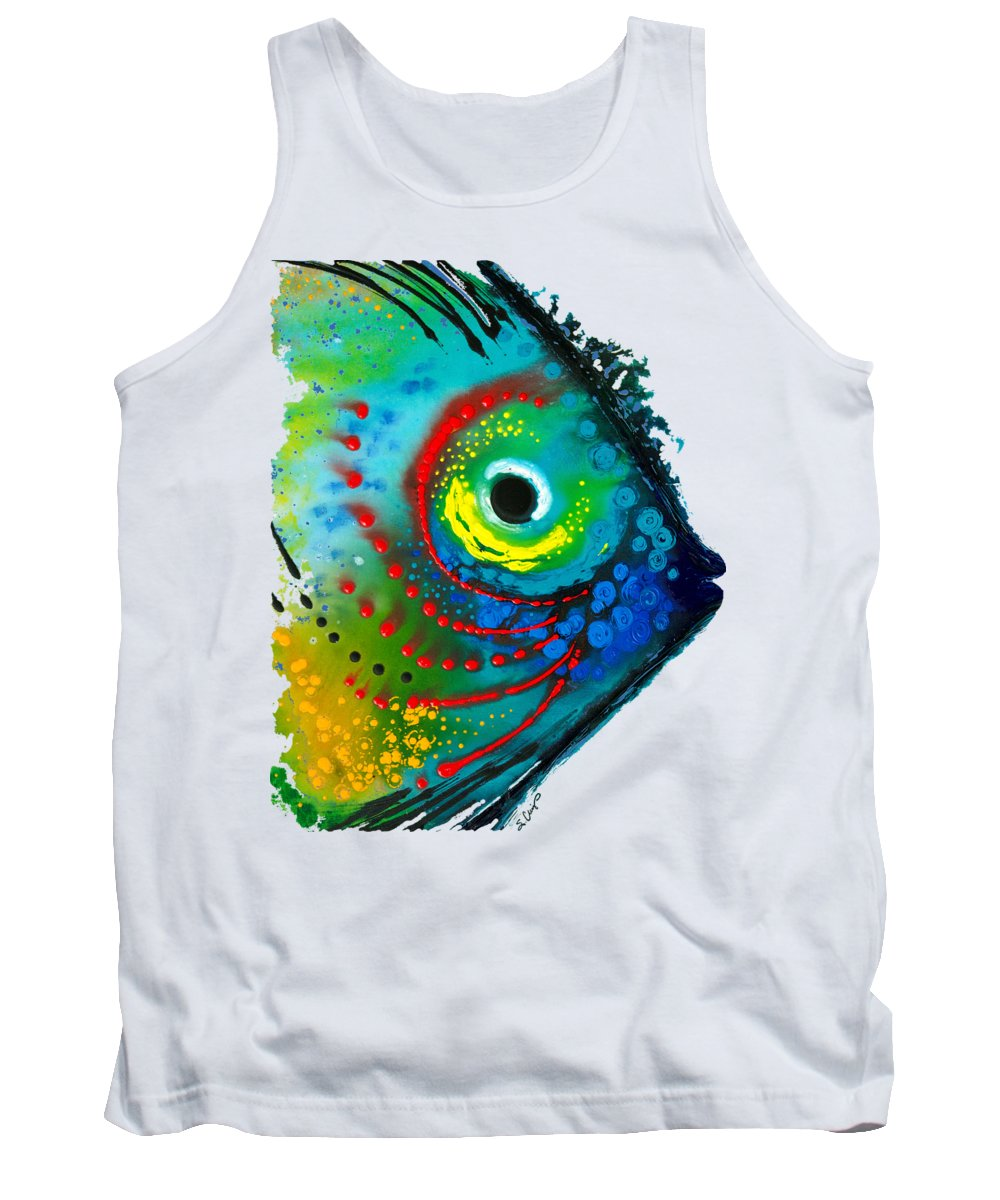 Sharon Cummings Tank Top featuring the painting Tropical Fish - Art By Sharon Cummings by Sharon Cummings
