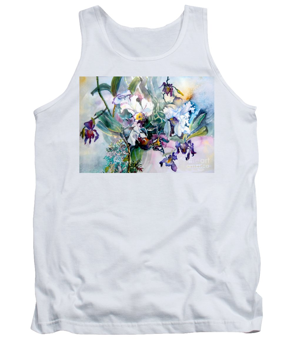 Orchids Tank Top featuring the painting Tropical White Orchids by Mindy Newman