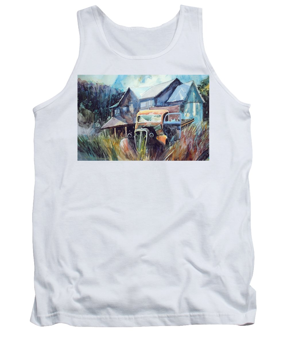 House Truck Grass Tank Top featuring the painting Truck in the Tall Grass by Ron Morrison