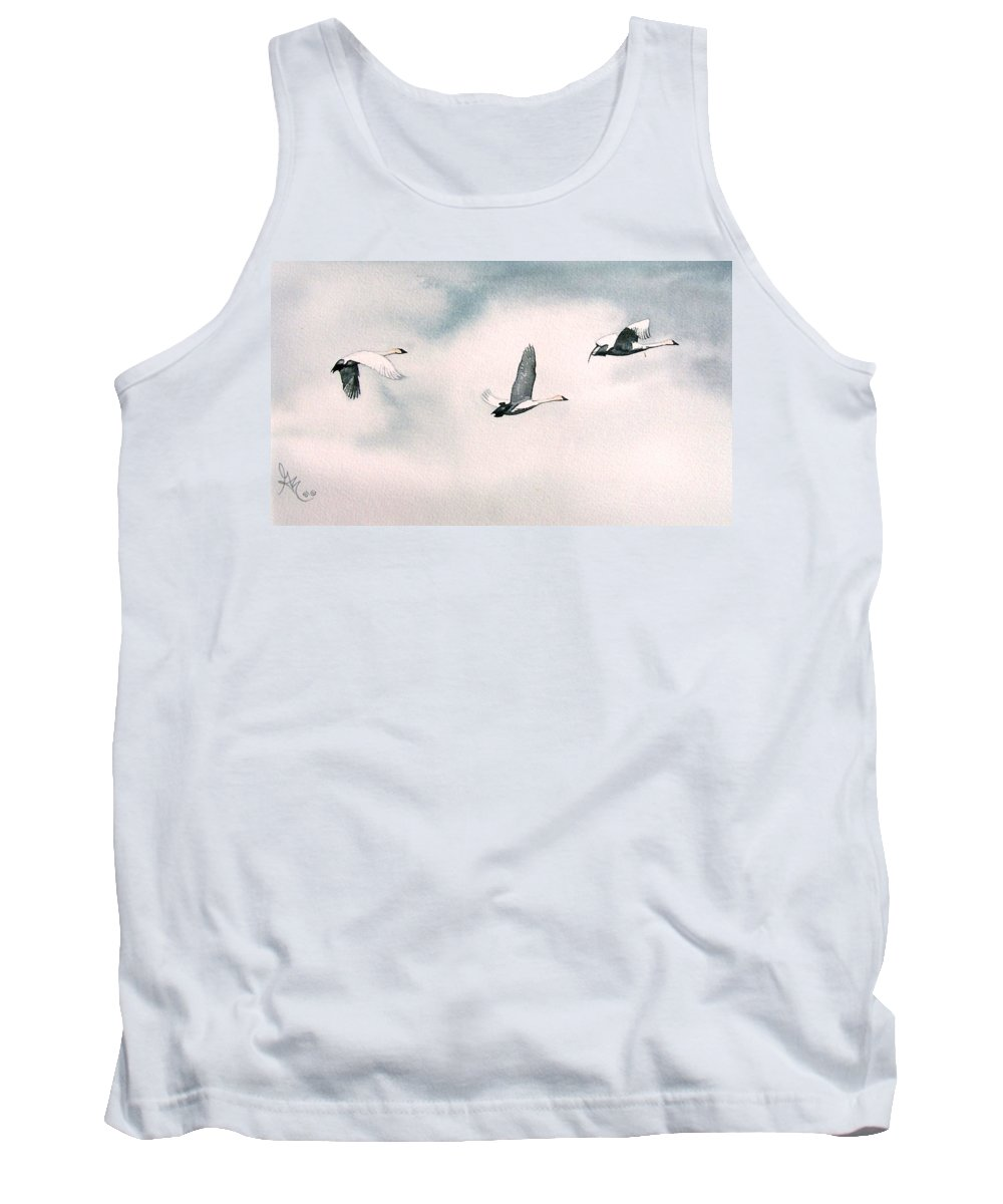 Swans Tank Top featuring the painting Trumpeters by Gale Cochran-Smith