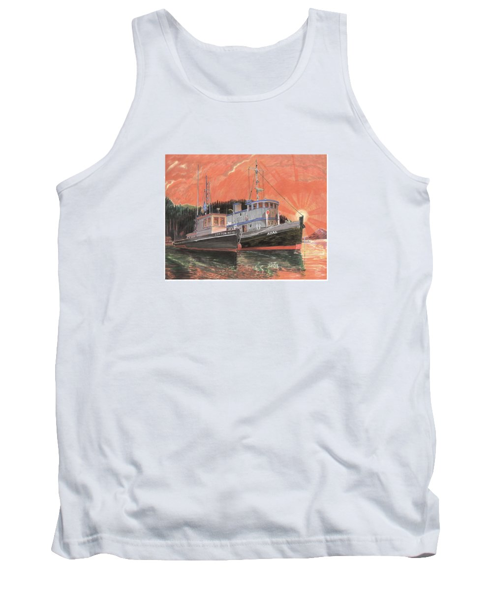 Tug Boats Anchored In Red Sky Tank Top featuring the painting Tug Boats Anchored In Red Sky by Jack Pumphrey