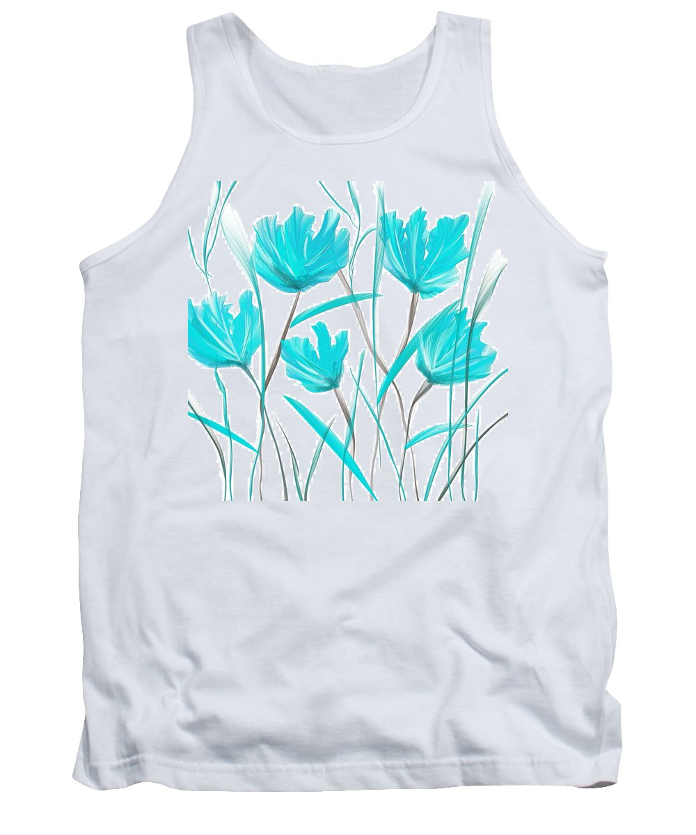 Blue Tank Top featuring the painting Turquoise Bloom by Lourry Legarde