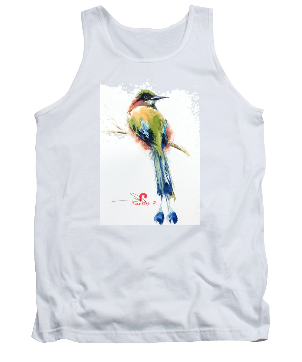 Turquoise-browed Motmot Bird Tank Top featuring the painting Turquoise-browed Motmot Bird by Pornthep Piriyasoranant