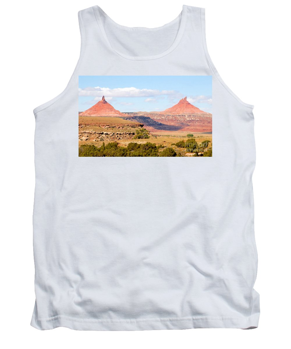 Twin Buttes Tank Top featuring the photograph Twin Buttes by David Lee Thompson