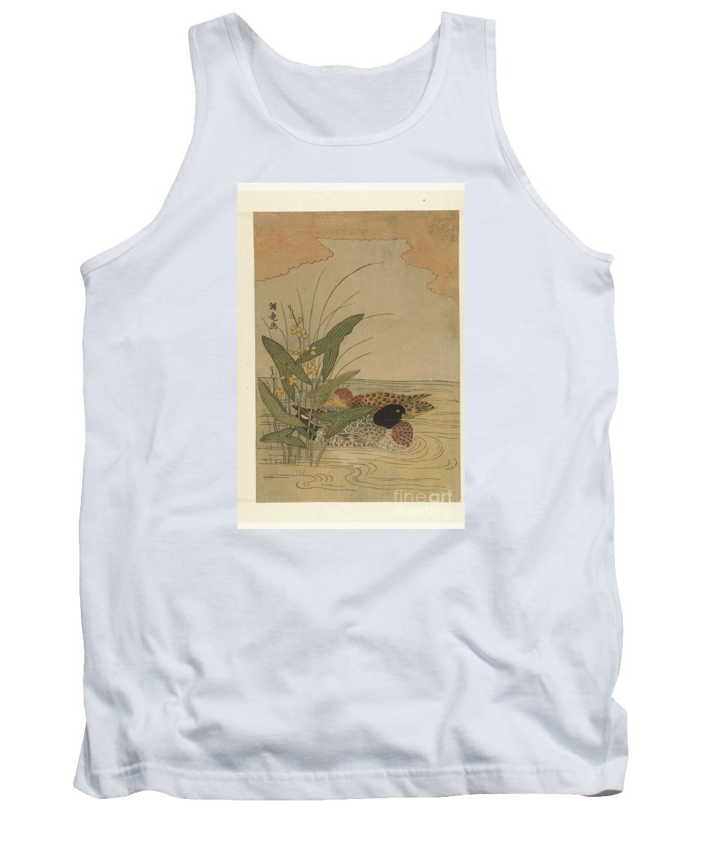 Two Ducks Swimming In Yellow Flowering Arrowhead Tank Top featuring the painting Two Ducks Swimming by Celestial Images
