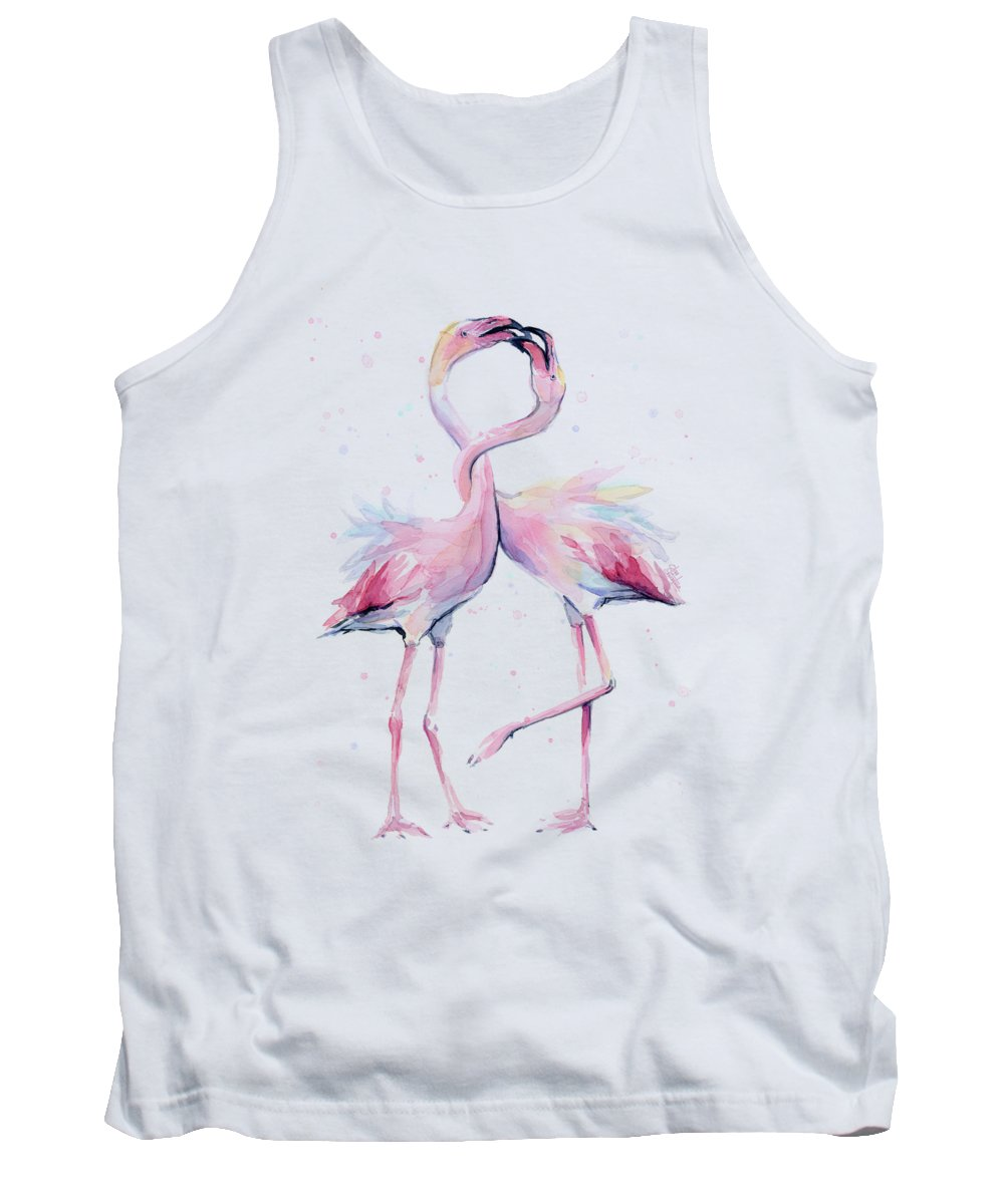 Flamingos Tank Top featuring the painting Two Flamingos Watercolor Famingo Love by Olga Shvartsur