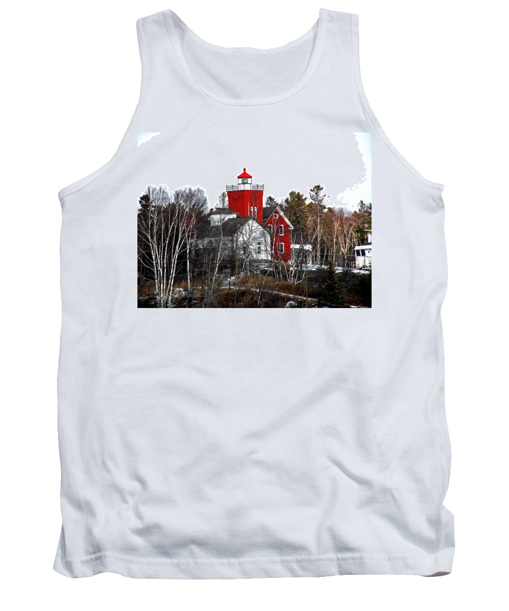 Lighthouse Tank Top featuring the photograph Two Harbors Lighthouse Close-up by Bryan Benson