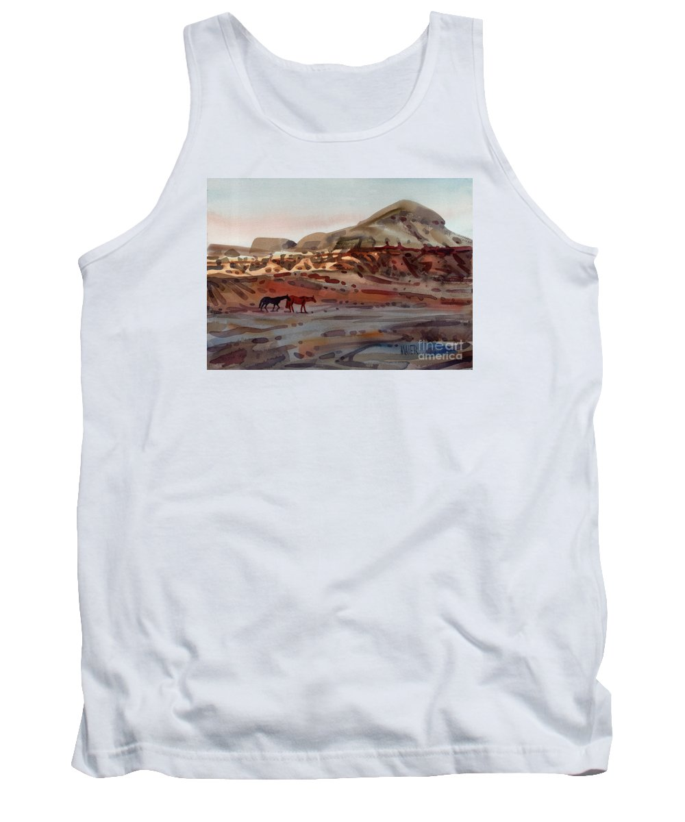 Horses Tank Top featuring the painting Two Horses In The Arroyo by Donald Maier