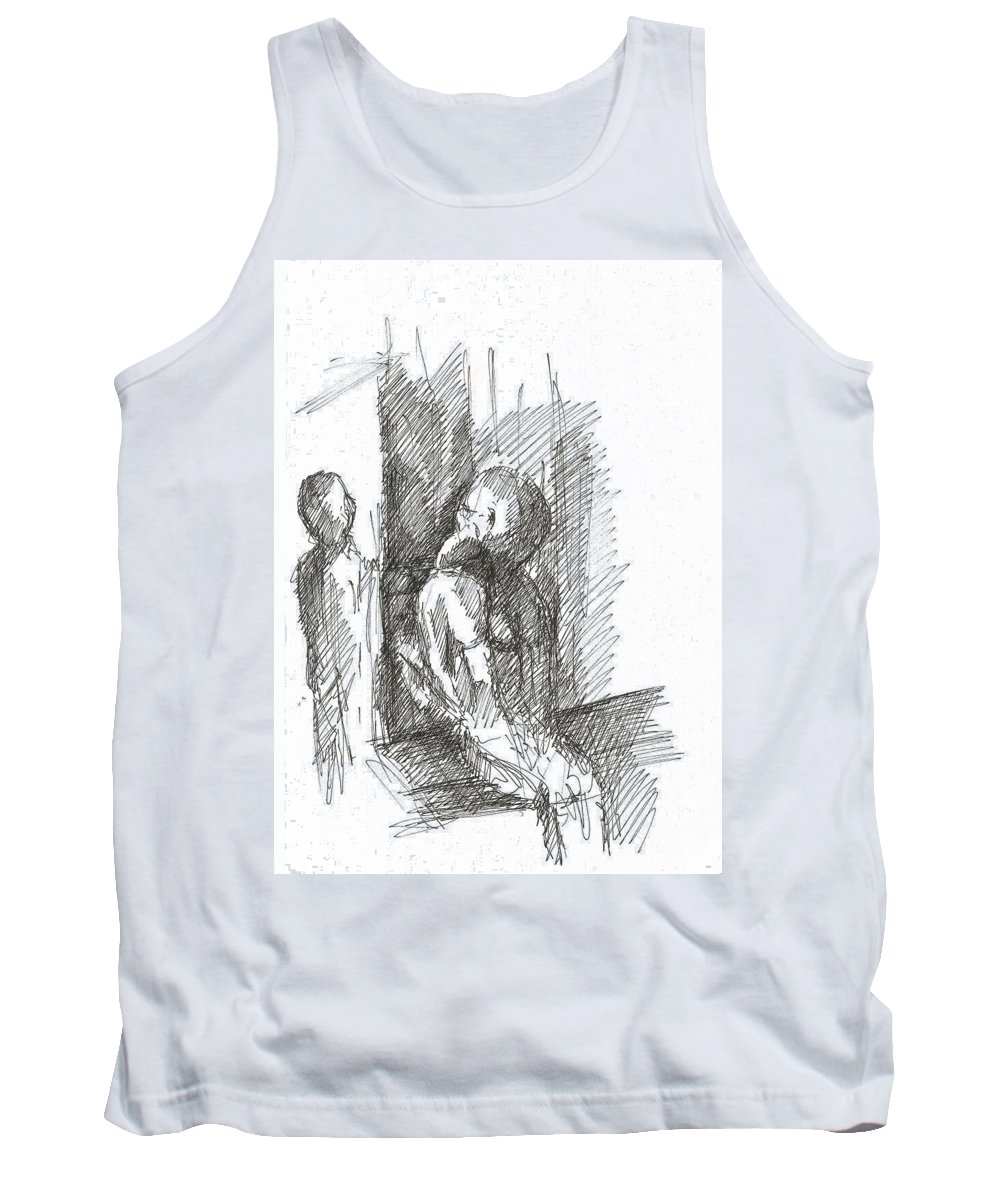Two Cell People Pen Drawing Paper Tank Top featuring the drawing two by Lampros Christakis