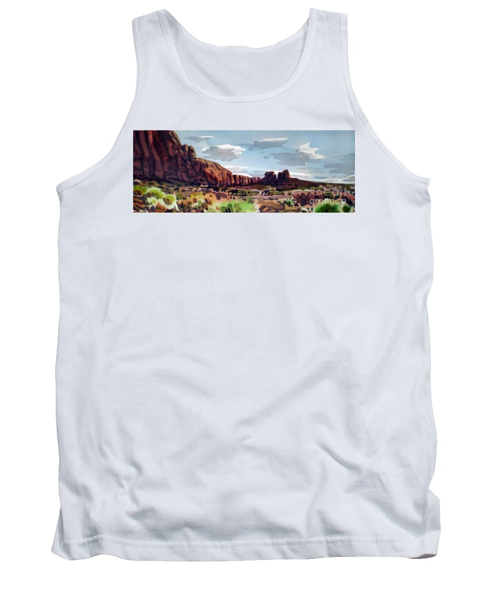 Horses Tank Top featuring the painting Two Mustangs by Donald Maier