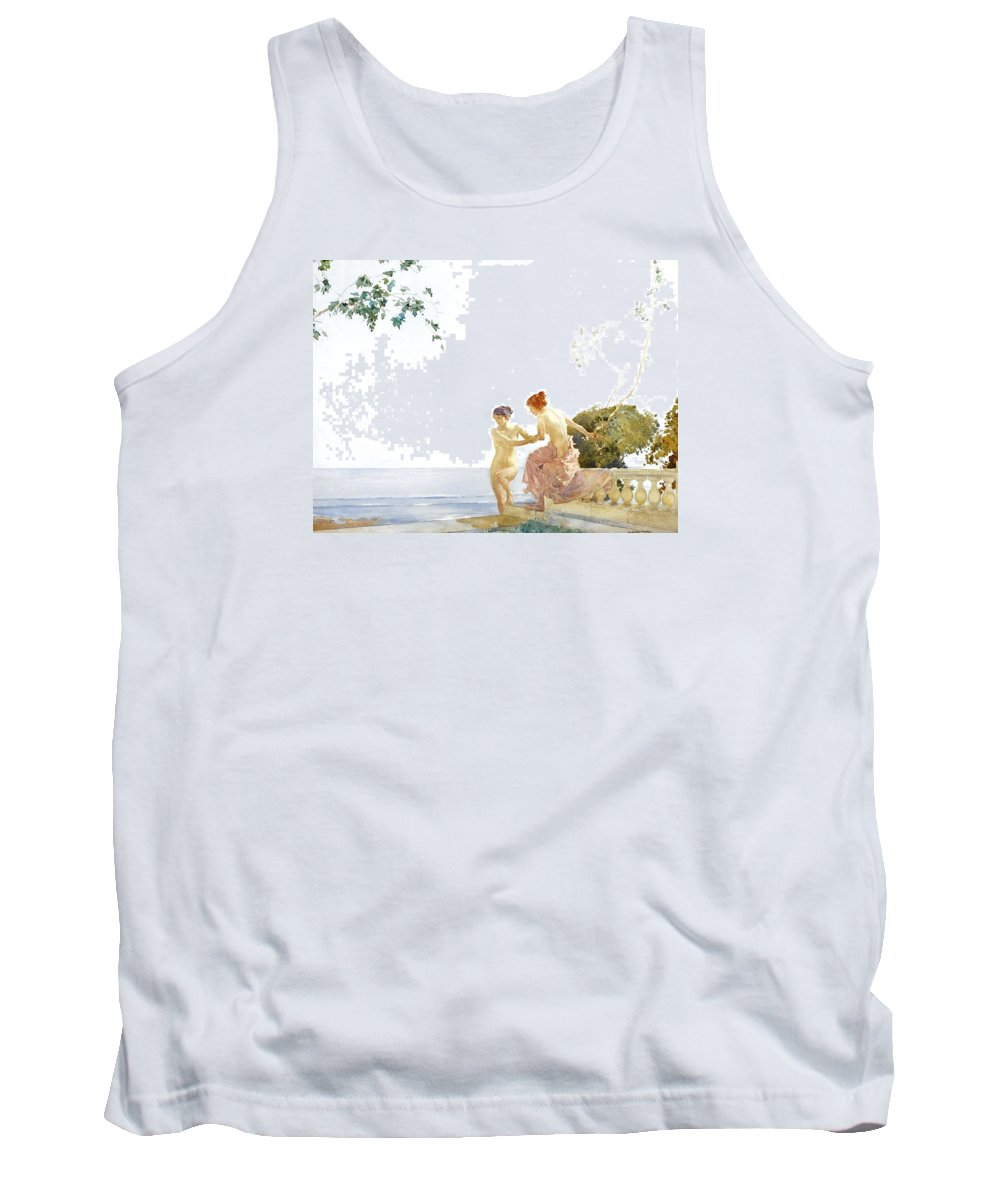 William Flint Tank Top featuring the painting Two Women On The Steps At Noon by William Russell Flint
