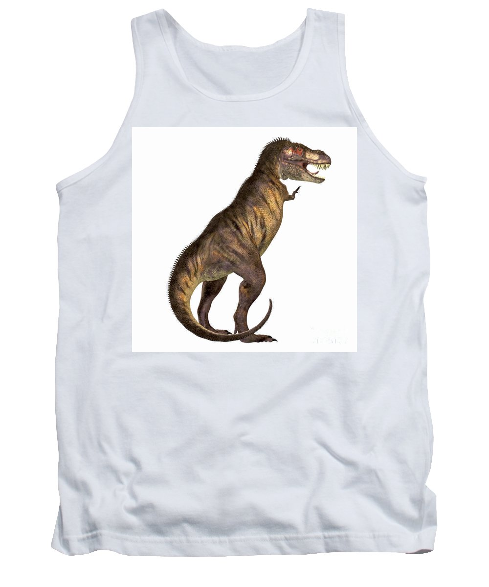 Tyrannosaurus Rex Tank Top featuring the painting Tyrannosaurus Rex On White by Corey Ford