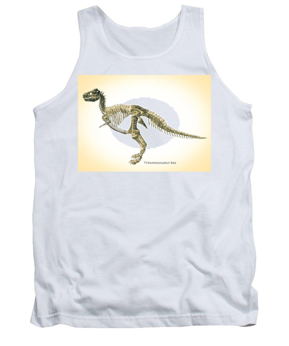 Biology Tank Top featuring the digital art Tyrannosaurus Rex Skeleton by Bob Orsillo